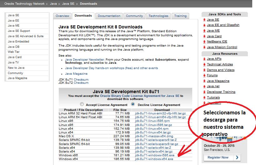 pantallazo descarga OS JDK