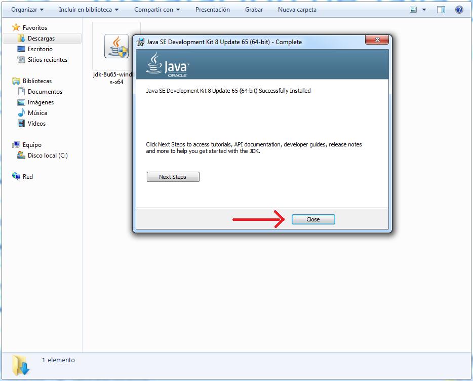 pantallazo final instalacion JDK 4