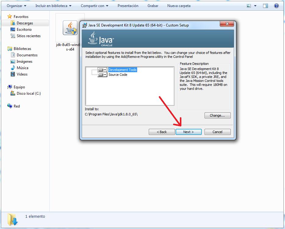 pantallazo instalacion JDK 2